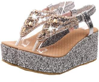 DoraTasia Women's Summer Glitter T Strap Wedge High Heel Platform Sandals Foam Slip on Flip Flops