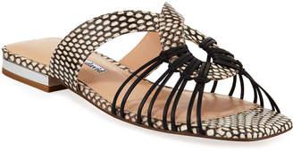 Charles David Silvy Snake-Print Flat Slide Sandals