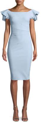 Chiara Boni Julienne Tiered-Sleeve Cocktail Sheath Dress
