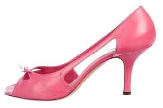 Marc Jacobs Leather Peep-Toe Pumps Pink Leather Peep-Toe Pumps
