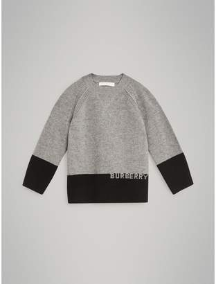 Burberry Logo Intarsia Cashmere Sweater , Size: 10Y