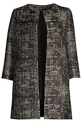 Eileen Fisher Women's Metallic Jacquard Open-Front Topper Coat