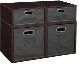 Cubo Niche Storage Set- 2 Full Cubes/2 Half Cubes with Foldable Storage Bins- Truffle/Grey