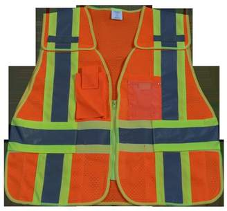 Petra Roc OVM2-PSV-SUPER Public Safety Vest 207-2006 107-2010 Class 2 Orange Mesh with Lime Binding 5-Point Breakaway 5 Pockets, Super 6X & 8X