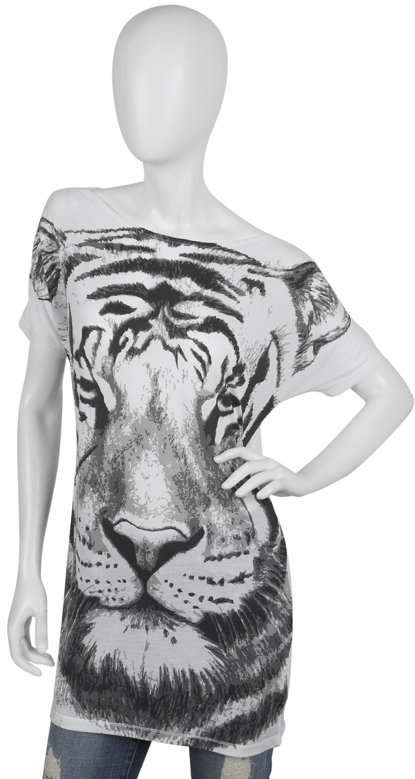 Torn Jesse Huge Tiger Tunic in White
