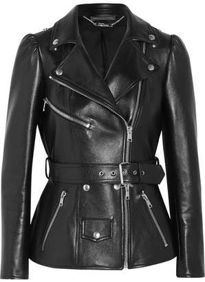 Alexander McQueen - Belted Leather Biker Jacket - Black