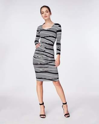 Nicole Miller Wavy Stripe Scoop Neck Tuck Dress