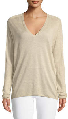 Theory Adrianna Sag Harbour V-Neck Long-Sleeve Linen-Blend Top