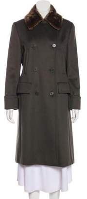 Max Mara Camel Hair Fur-Trimmed Coat Grey Camel Hair Fur-Trimmed Coat