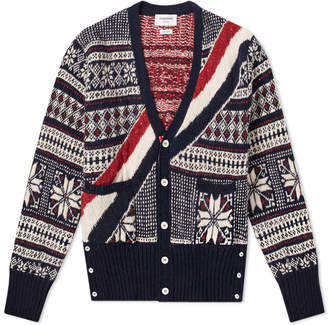 Thom Browne Stripe Winter Fair Isle Cardigan
