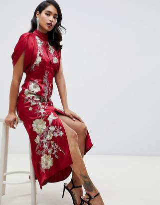Asos EDITION embroidered maxi dress with dropped armhole