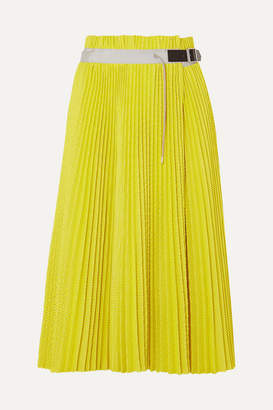 Sacai Pleated Mesh Wrap Midi Skirt - Yellow