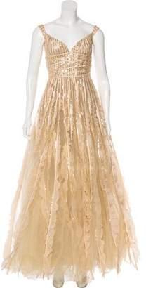 Oscar de la Renta Embellished A-Line Gown