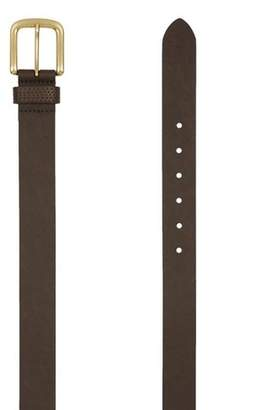 Topman Mens Brown Slim Leather Belt with Brushed Gold Buckle in Tan