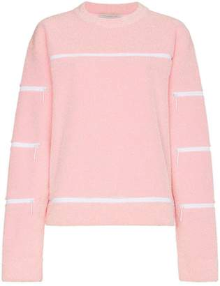 Christopher Kane lurex cutout zipped crew neck sweater