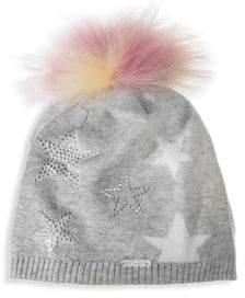 Bari Lynn Embellished Fox Fur Pom-Pom Hat