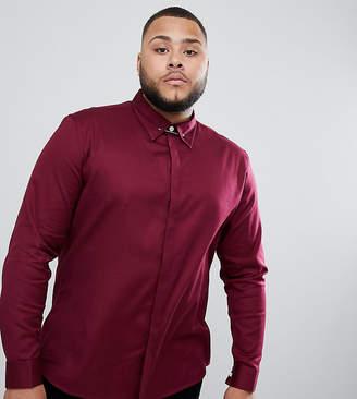 Asos Design DESIGN Plus slim twill shirt with collar bar in burgundy