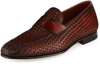 Magnanni Woven Leather Penny Loafer Brown