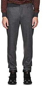 Prada Men's Flat-Front Wool Trousers - Gray