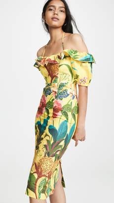 FARM Rio Golden Jungle Linen Midi Dress