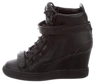 Giuseppe Zanotti Leather Sneaker Wedges w/ Studs