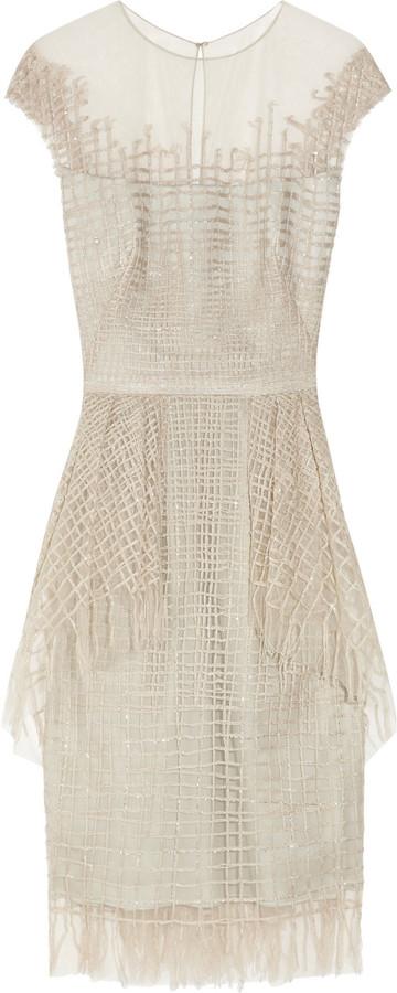 Lela Rose Cotton-threaded tulle dress