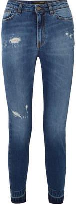 Dolce & Gabbana Appliquéd Distressed High-rise Slim-leg Jeans - Mid denim