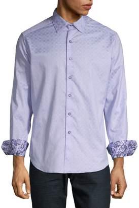 Robert Graham Wave-Print Long-Sleeve Cotton Sport Shirt