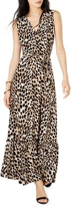 INC International Concepts Leopard-Print Faux Wrap Maxi Dress