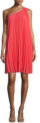 Trina Turk One-Shoulder Pleated Shift Dress, Rio Ruby $298 thestylecure.com