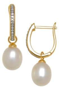 Lord & Taylor 8MM Freshwater Pearl, Diamond and 14K Yellow Gold Drop Earrings