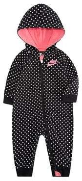 Nike Baby Girl's Dot Print French Terry Hooded Coverall