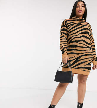 Brave Soul Plus zigby animal print roll neck sweater dress