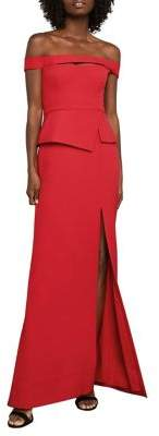 BCBGMAXAZRIA Off-The-Shoulder Peplum Gown