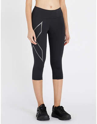 2XU Antibacterial Womens Black Tonal Print Drawstring-Waist Slim-Fit Compression Leggings