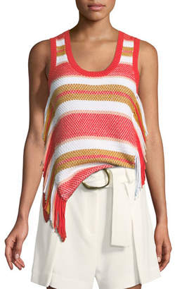 Derek Lam 10 Crosby Sleeveless Knit Top with Fringe