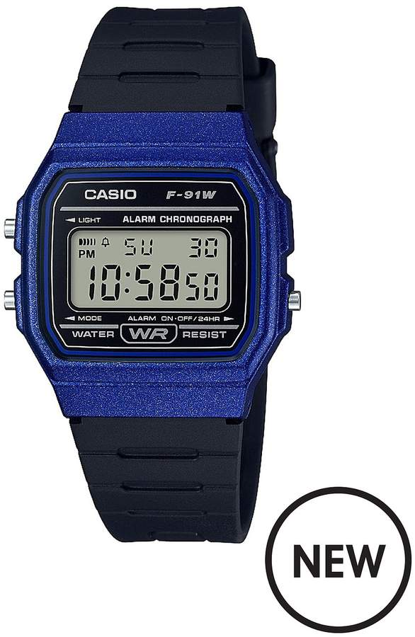Classic Collection Royal Blue Digital Dial Black Silicone Strap Watch