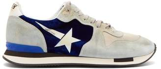 Golden Goose Running Suede And Velvet Trainers - Womens - Blue Multi