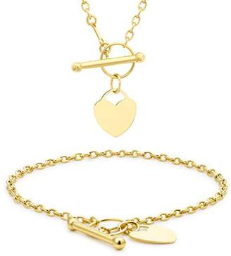 Carissima Gold 9ct Yellow Mini Heart T Bar Necklace And Bracelet Set 46cm