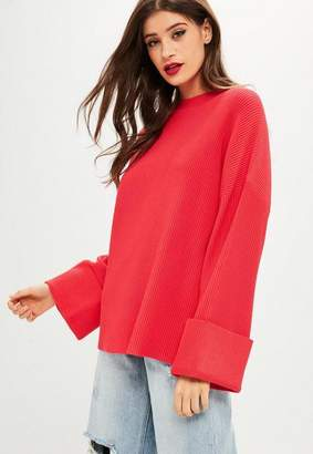 Missguided Red Ottoman Rib Sweater