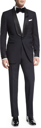 TOM FORD O'Connor Base Shawl-Collar Tuxedo, Navy $4,620 thestylecure.com