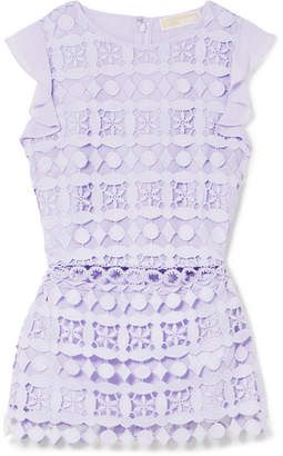 MICHAEL Michael Kors Ruffled Chiffon And Guipure Lace Top - Lilac