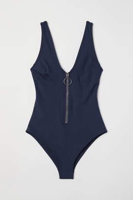 H&M Swimsuit with Zip - Blue