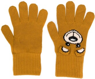 Moschino intarsia teddy gloves