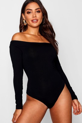 boohoo Off The Shoulder Long Sleeve Bodysuit