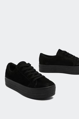 Nasty Gal On Top Platform Faux Suede Sneaker
