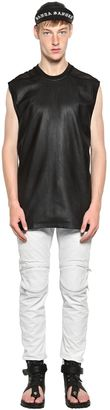 Nappa Leather & Cotton Mesh T-Shirt $431 thestylecure.com