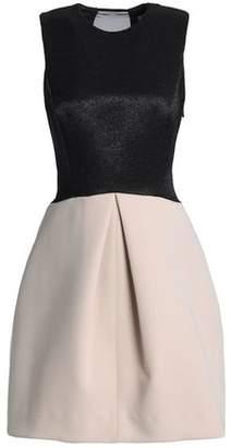 Halston Paneled Two-Tone Neoprene Jacquard And Chiffon Dress