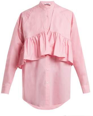 MSGM Oversized-ruffle cotton-blend poplin shirt