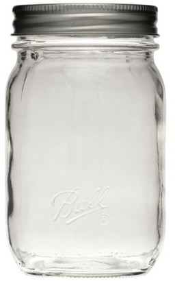 Ball Regular Mouth Pint Smooth Sided Glass Mason Jars with Lids and Bands, 16 oz., 12 Count